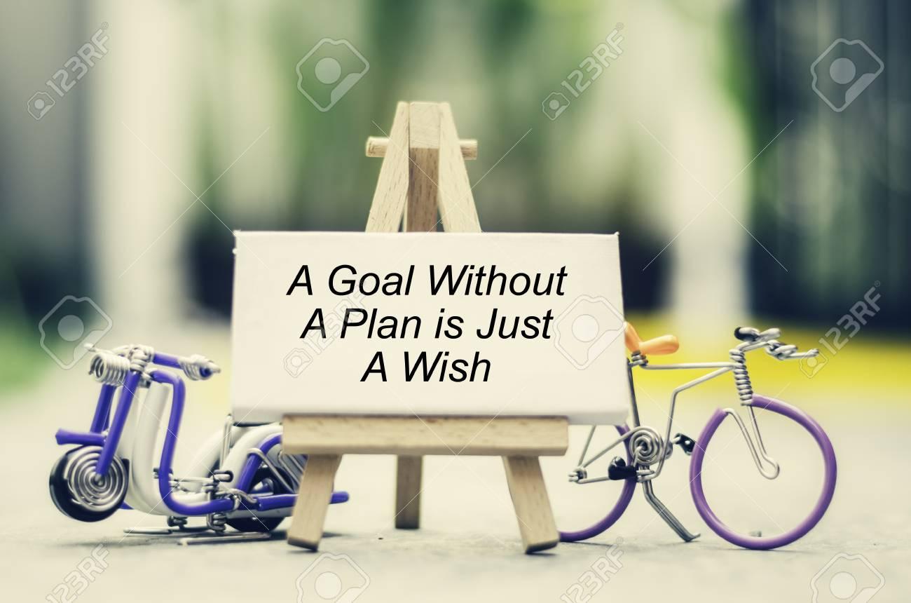Cita De Inspiración Un Objetivo Sin Un Plan Es Solo Un Deseo Con Desenfoque Bokeh Caballete Scooter Hecho A Mano Con Cable Y Fondo De Bicicleta