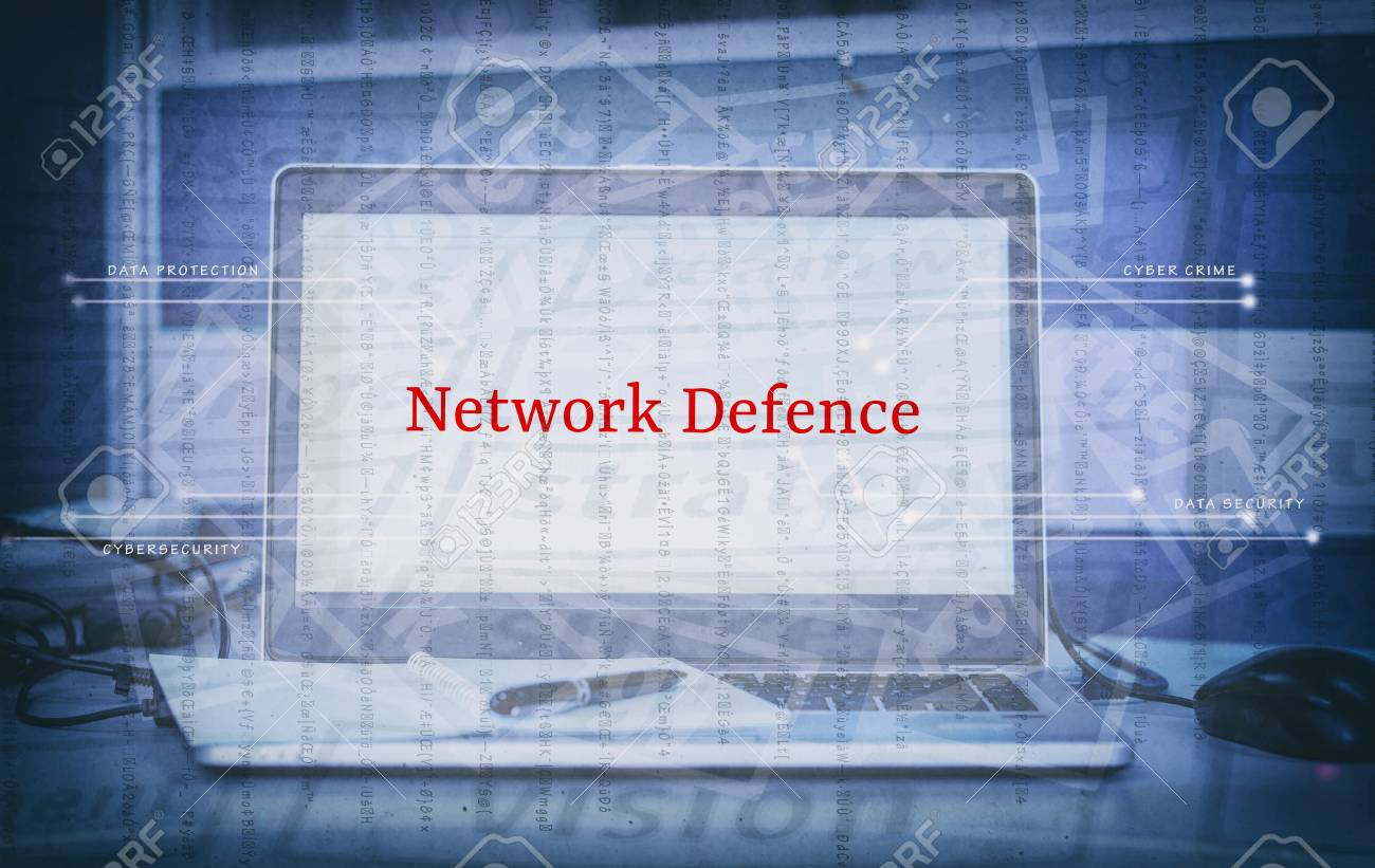 Cyber security and threat concept with word NETWORK DEFENCE display