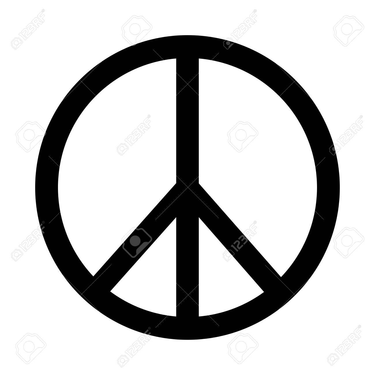 Peace Sign Logo icon. Black and white illustration. - 150279414