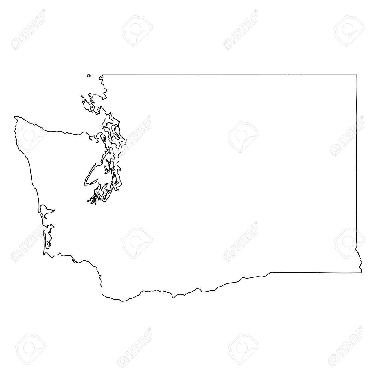 Washington WA state Map USA. Black outline mao isolated on a white background. EPS Vector - 149990997
