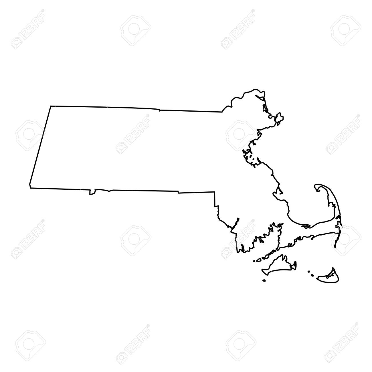 Massachusetts MA state Maps. Black outline map isolated on a white background. EPS Vector - 149990998