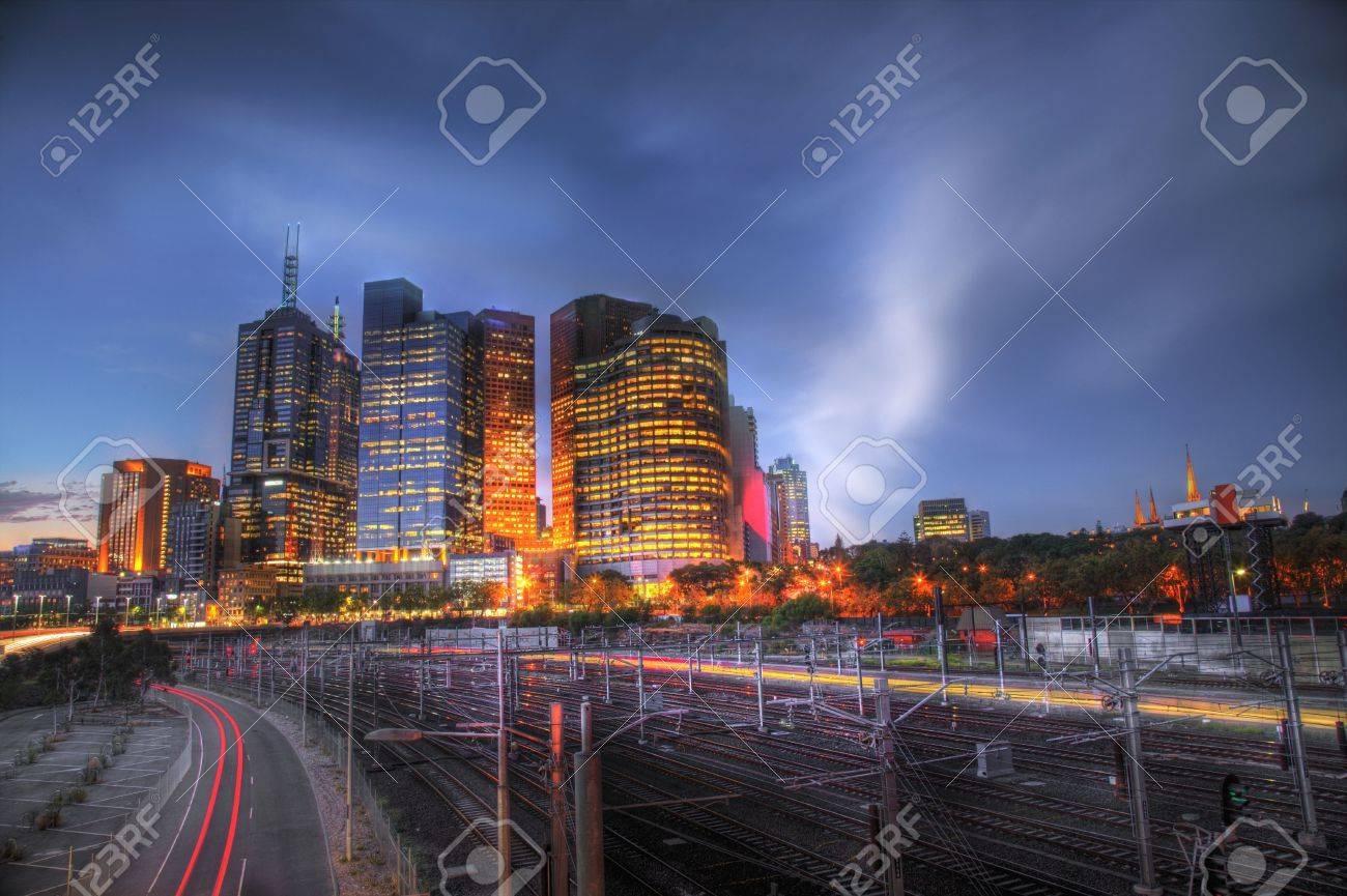 Melbourne city skyscrappers taken at twilight Stock Photo - 813667