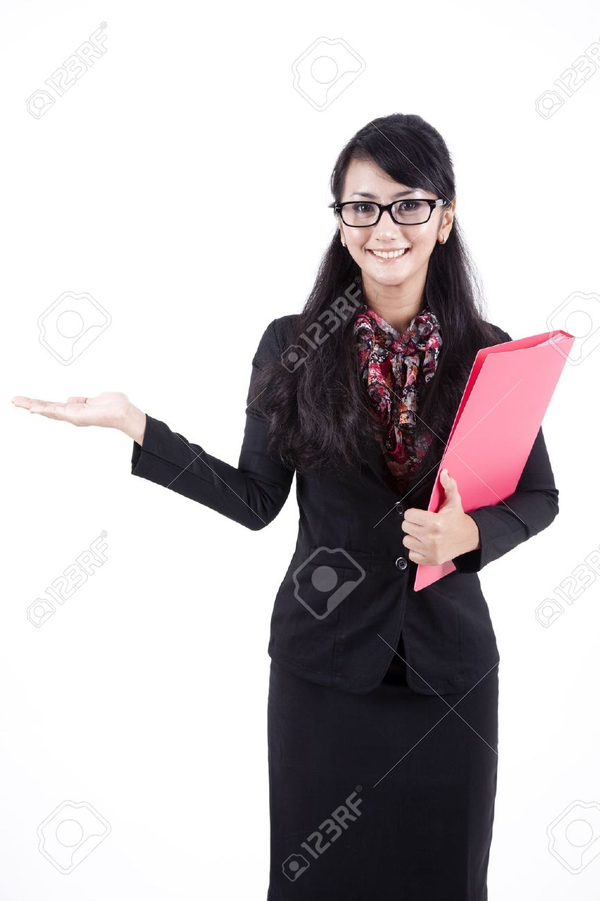 Asian business woman showing copyspace. Presentation. Isolated over white background. Stock Photo - 11077665