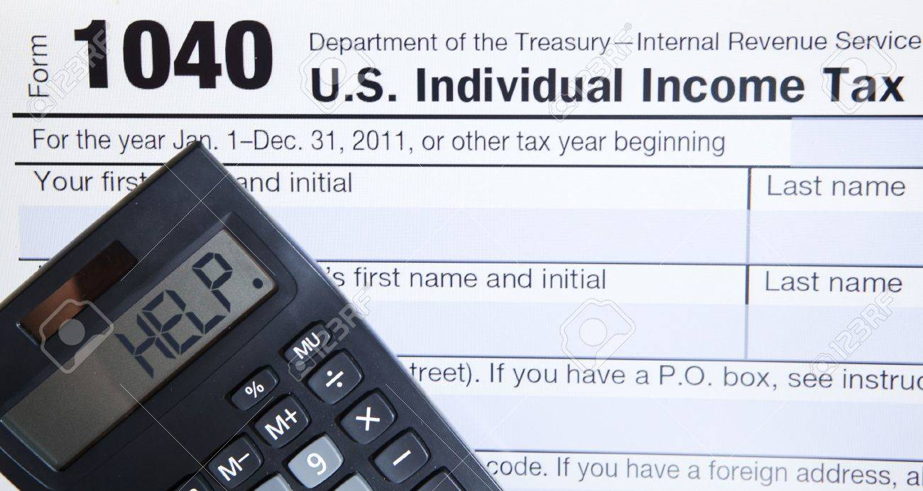 form 1040 help  Electronic Tax form 17 with the help word on calculator