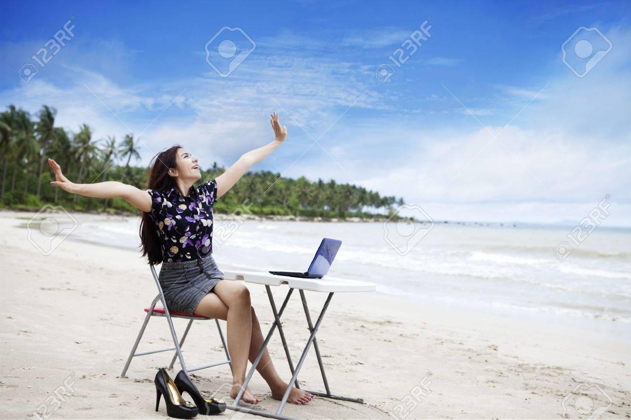 Happy asian businesswoman working outdoor Stock Photo - 12150159
