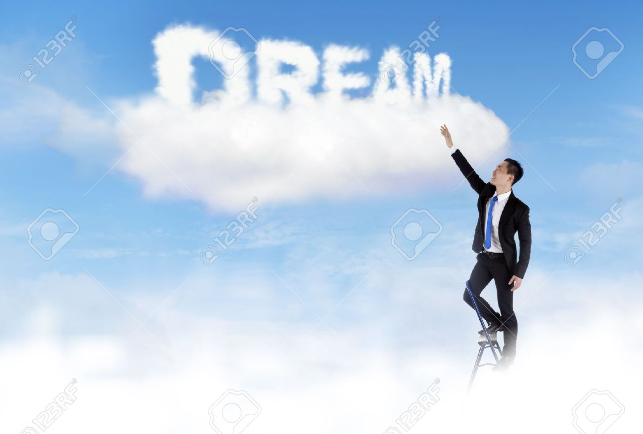 Businessman climbs ladder and get his dream Stock Photo - 12652584