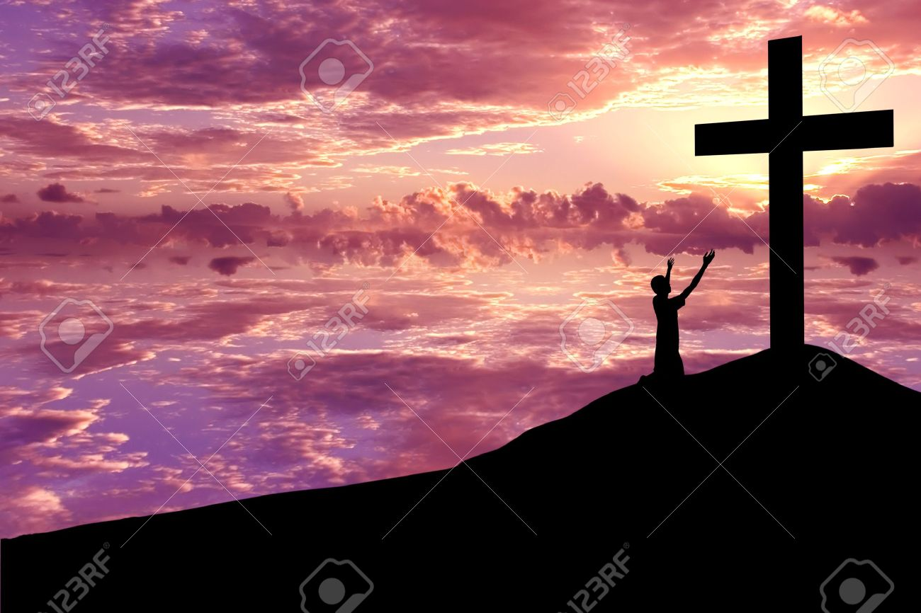 Silhouette of the holy cross on background of storm clouds stock - Worship Background Christian Background Silhouette Of S Man Wroship The Cross At Sunset Or