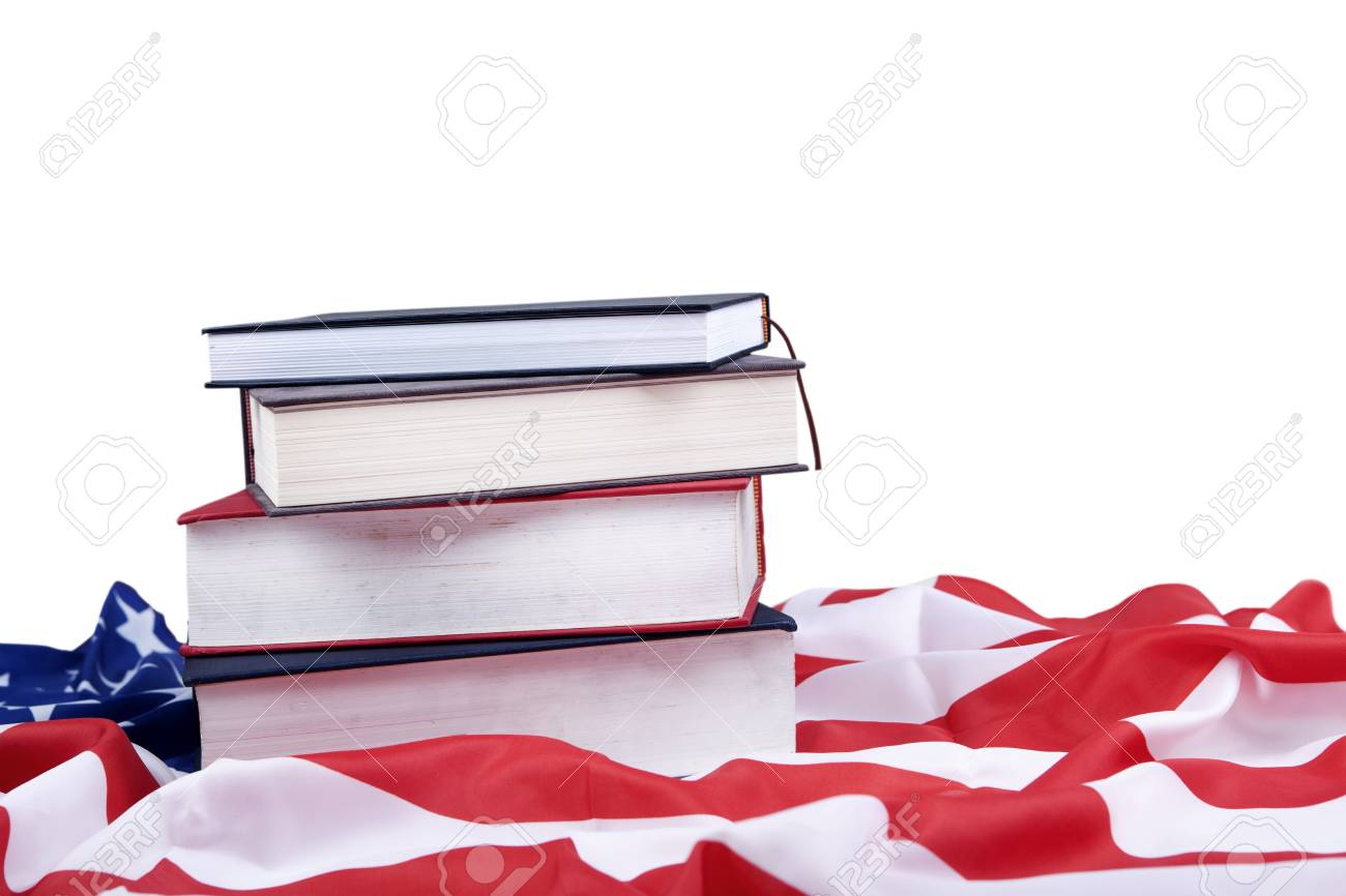 Photo of american flag and books ilustrating american educational issues Stock Photo - 14659520