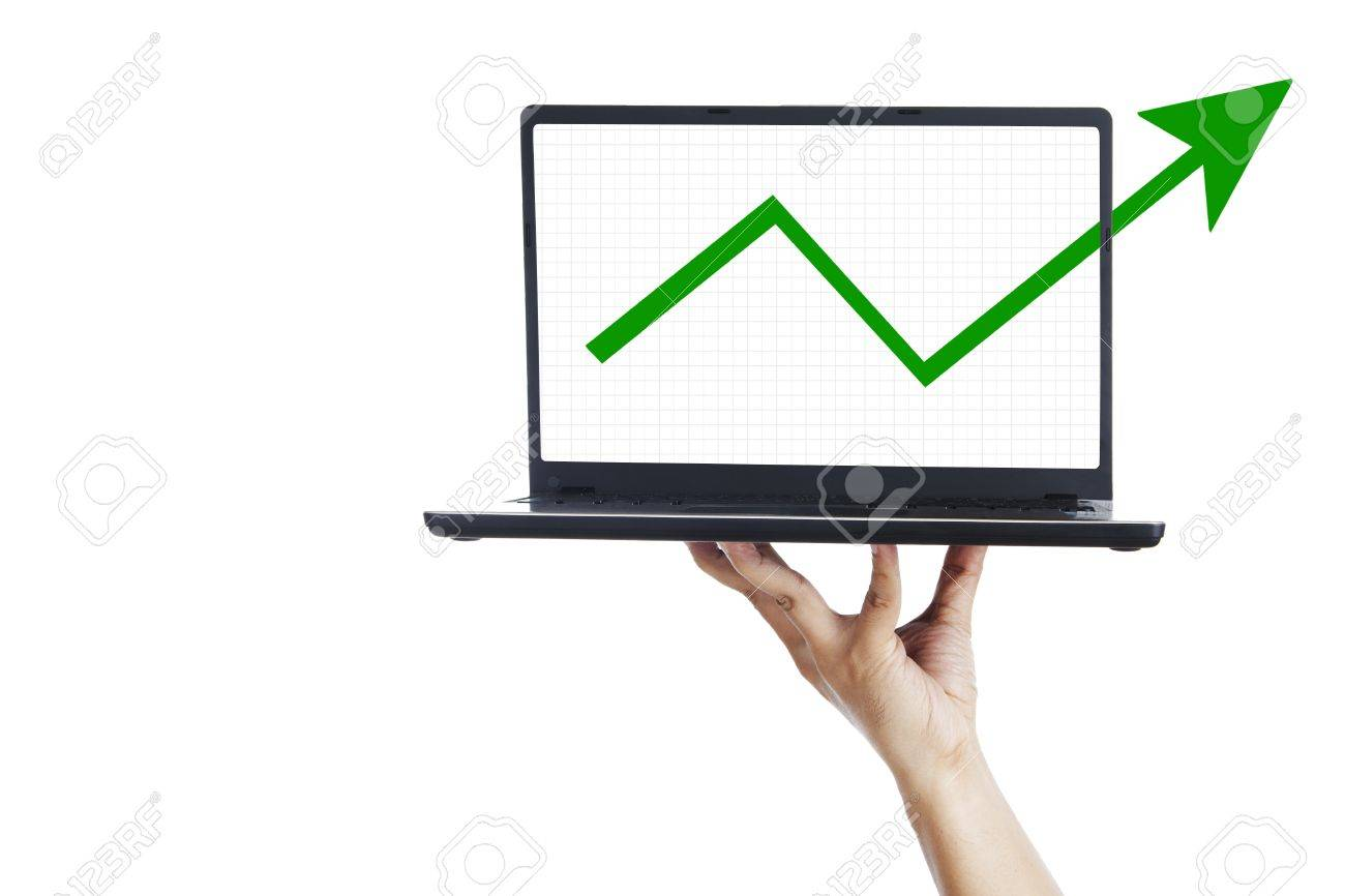 Business graph and ultrabook laptop computer on woman hand Stock Photo - 14821238