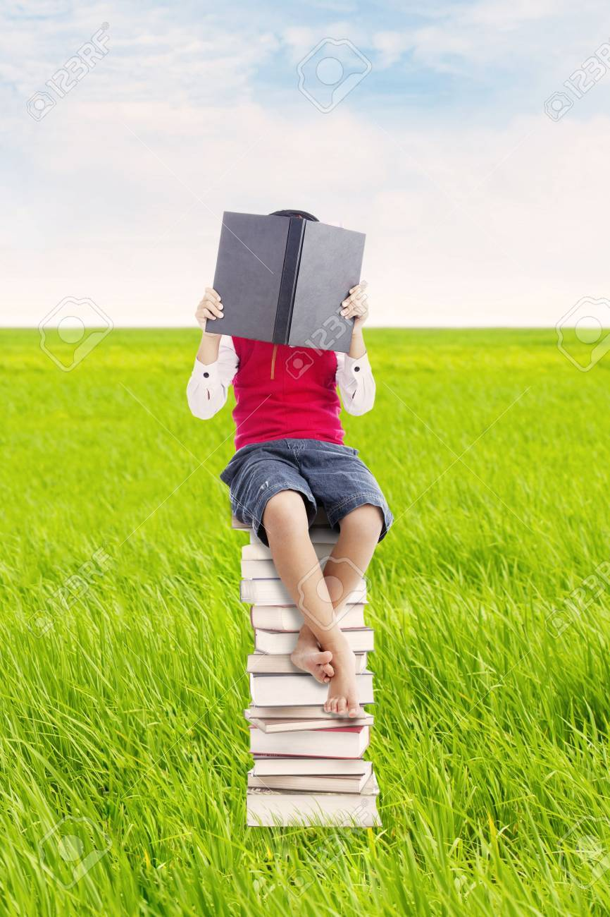 Elementary school student sitting on the stack of books and reads seriously. shot outdoor on the meadow Stock Photo - 15193429
