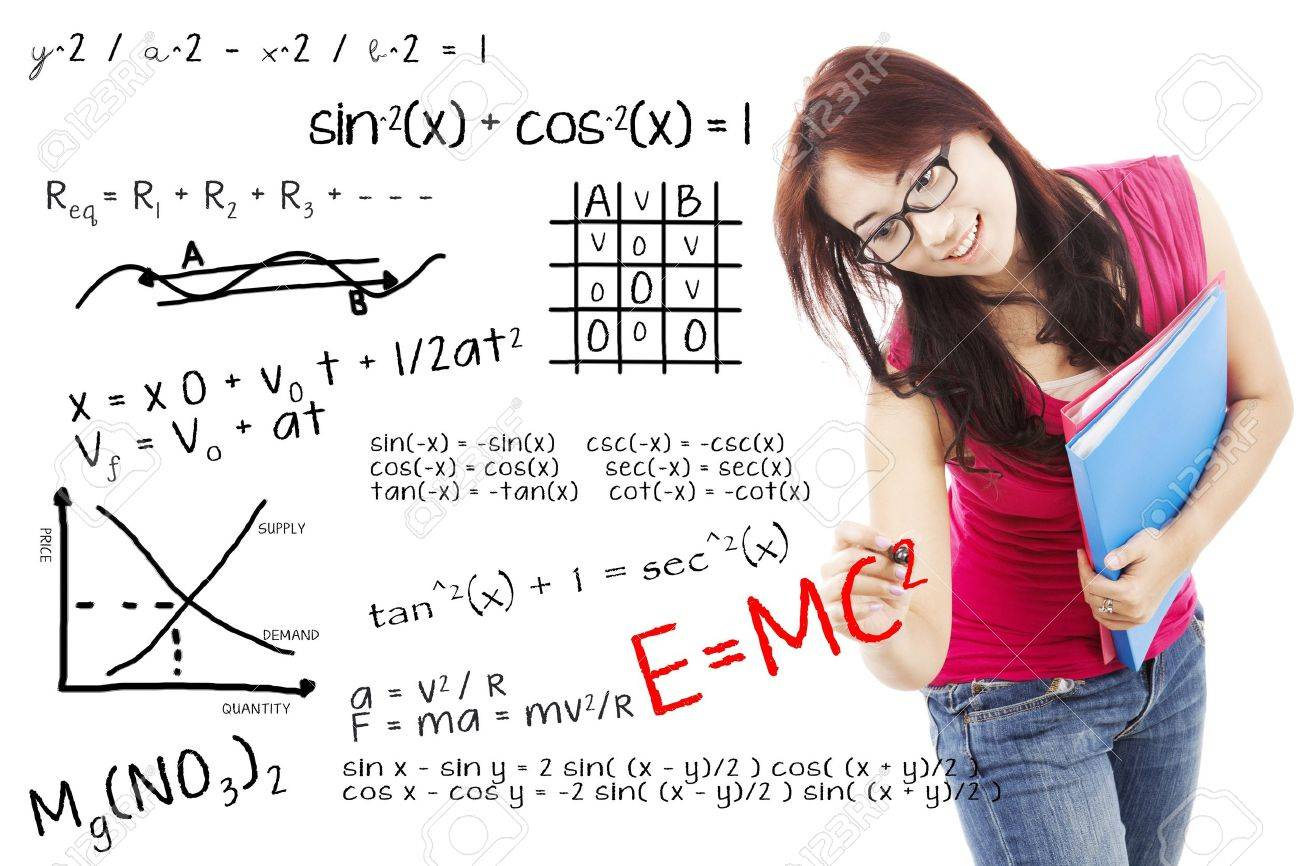 Portrait Of Female College Student Writes Solution Of Math And ...