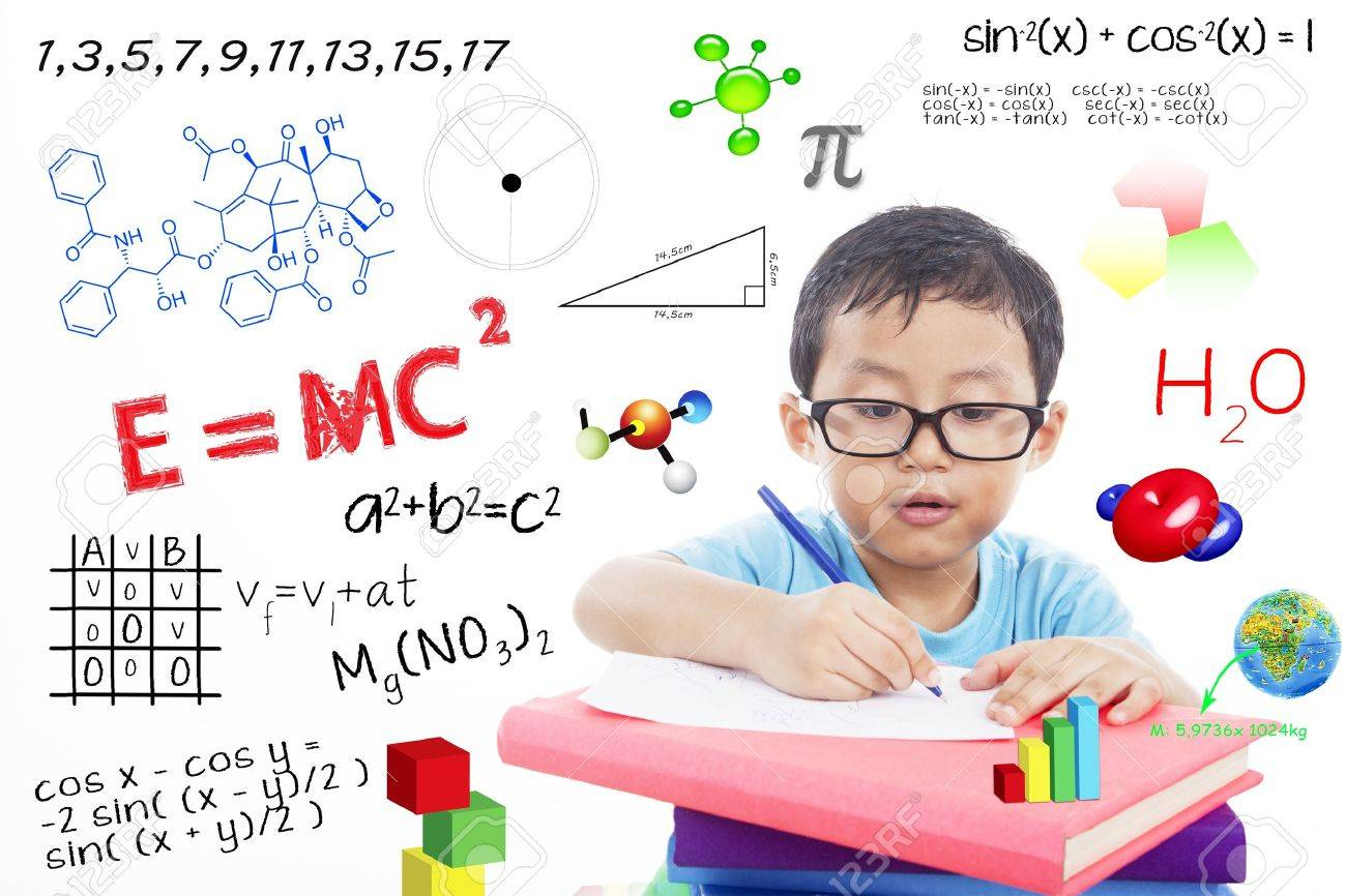 Portrait of genius boy trying to solve formula Stock Photo - 15165495