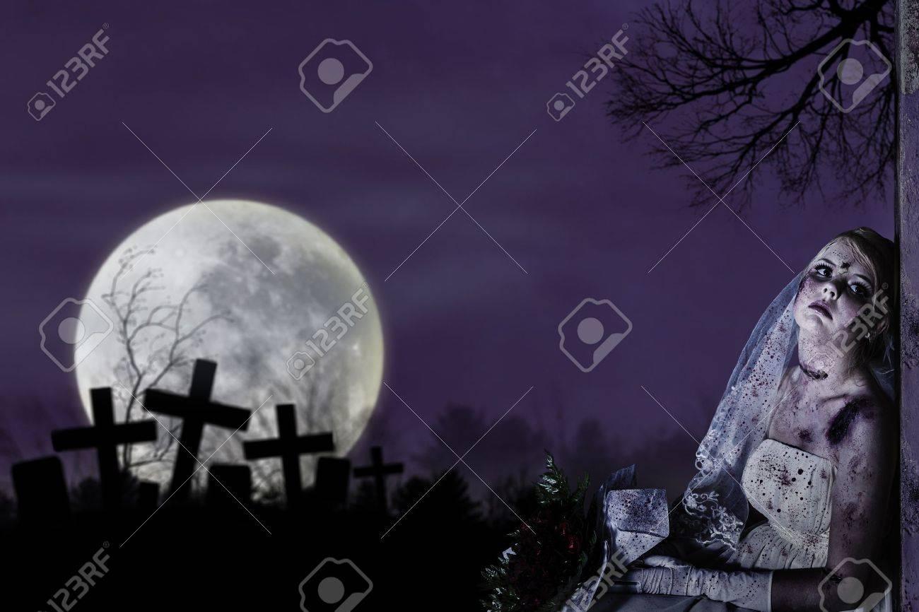 Halloween theme: Horror scene of corpse bride with copy space Stock Photo - 15390490