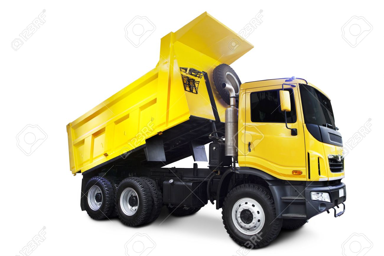 a big yellow dump truck isolated on white stock photo picture and
