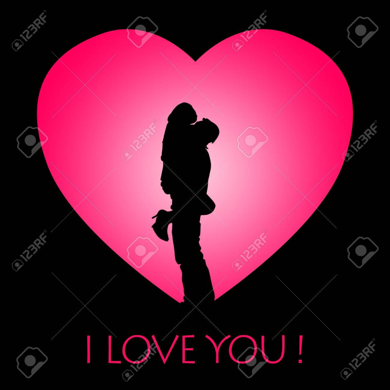 Valentine Card Design Showing Silhouette Of A Couple Hugging – Picture of a Valentine Card