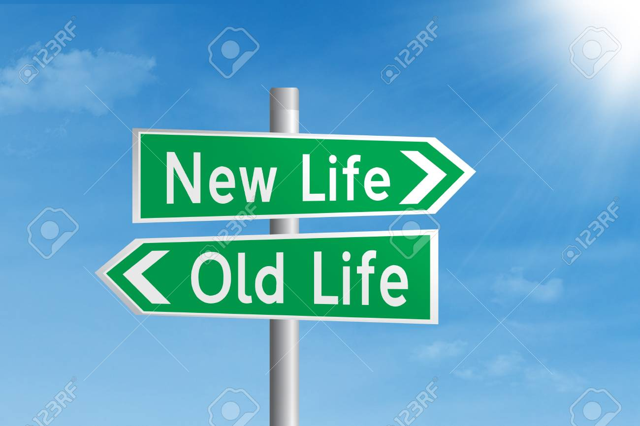 Green road sign of new life and old life under blue sky Stock Photo - 17573276