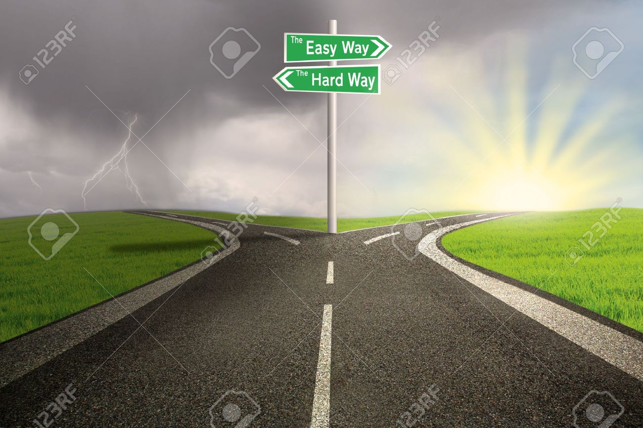 Green road sign of easy vs hard way on toll highway Stock Photo - 17573303