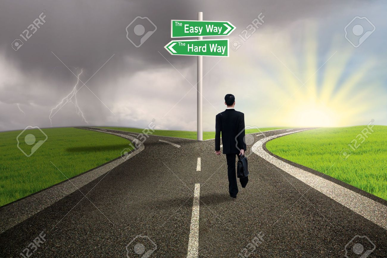 Businessman is walking on the easy way lane with stormy background - 17533497