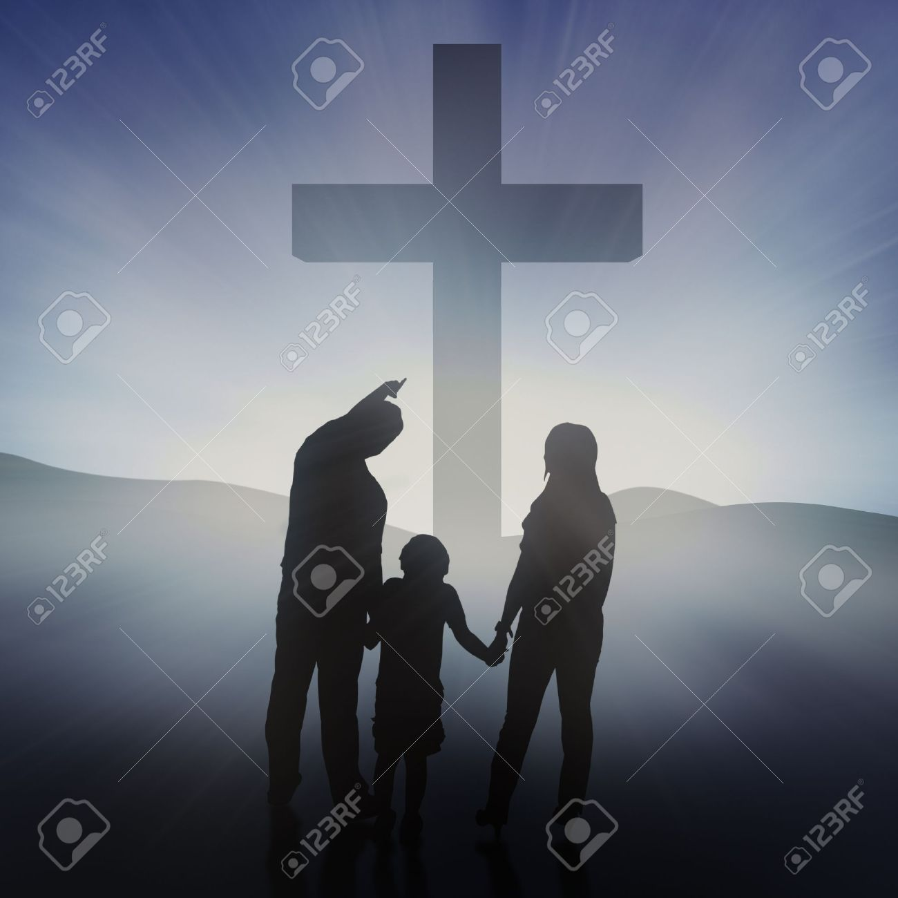 Silhouette of the holy cross on background of storm clouds stock - God Is Love Silhouette Of Christian Family At The Cross On Blue Background