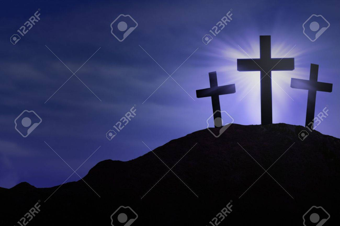 Silhouette of the holy cross on background of storm clouds stock - Easter Cross Silhouette Of Three Crosses On Blue Background