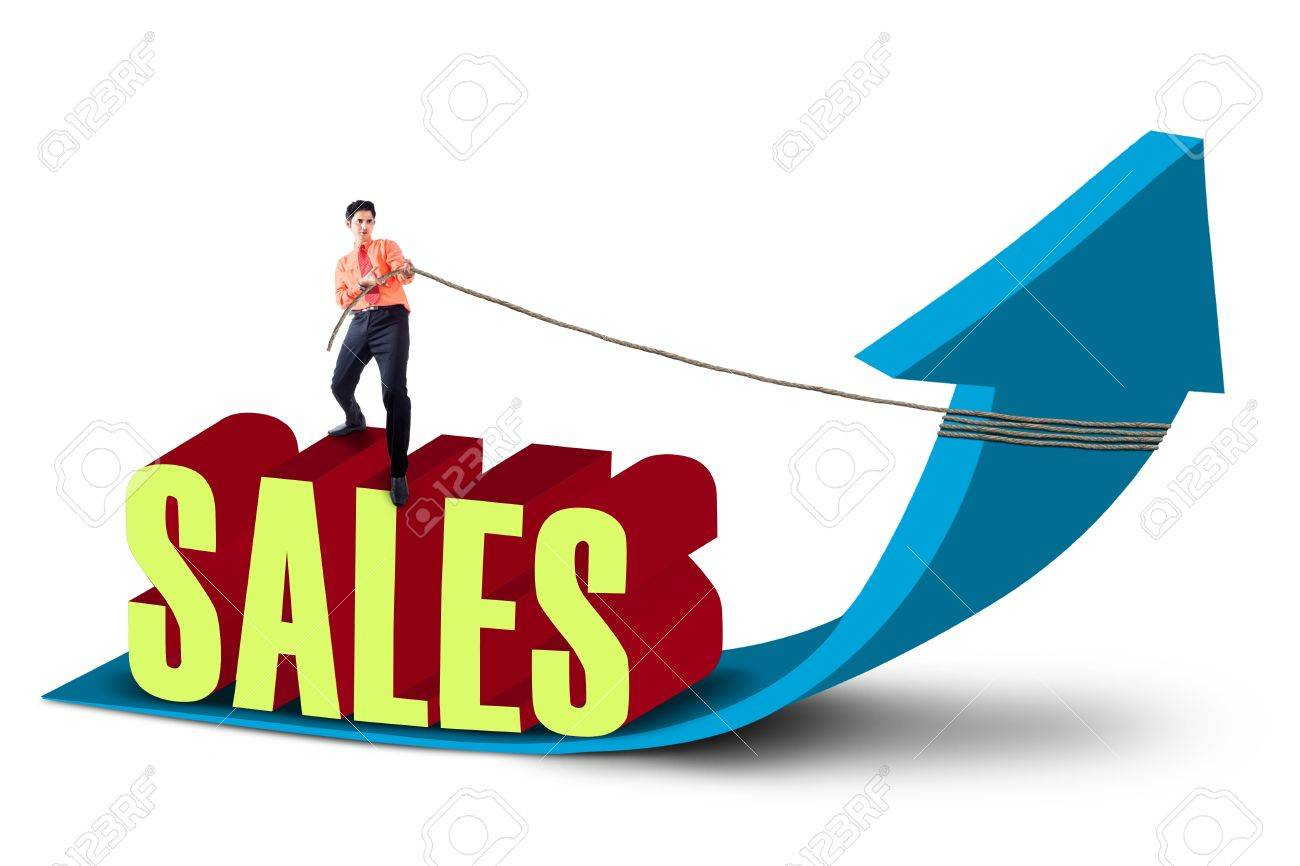 Businessman is pulling sales arrow sign on white background Stock Photo - 18693444