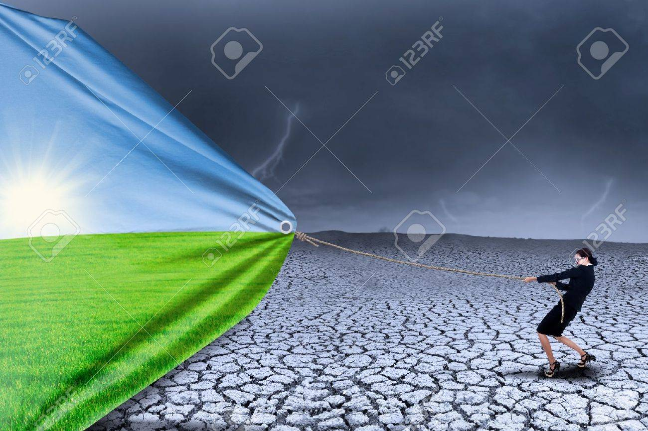 Businesswoman changing reality of drought to spring season - 21418888
