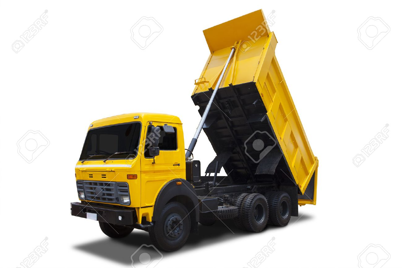 yellow dump truck with shadow isolated on white background stock
