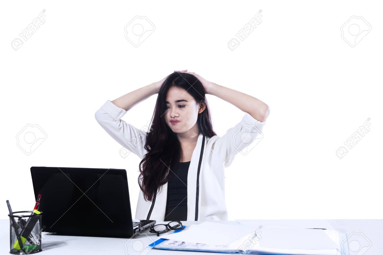 Stressed Businesswoman Is Frustrated And Overworked Isolated