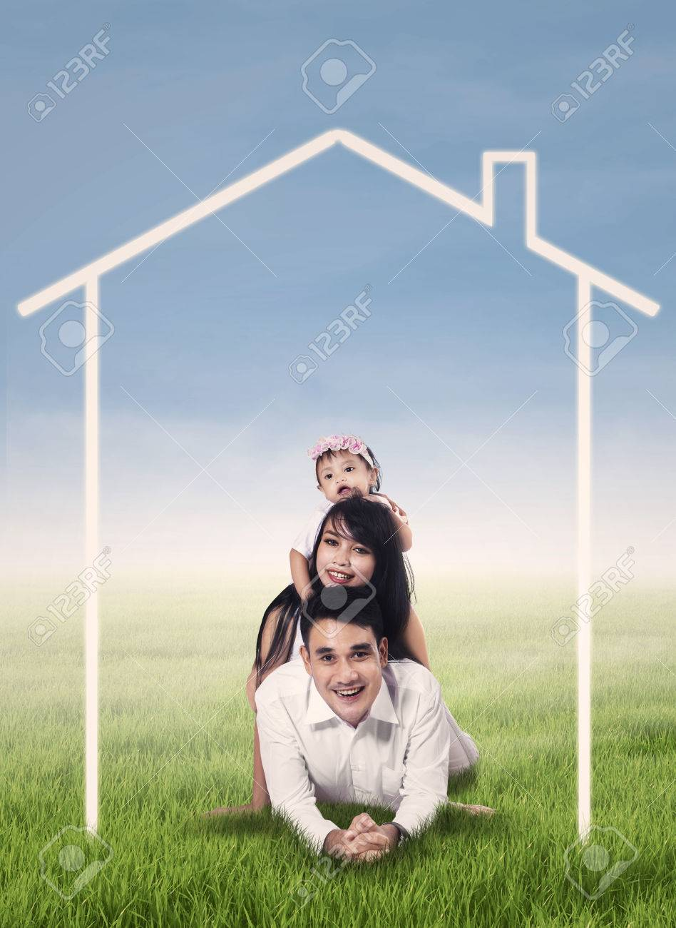 Happy Family Lying On Grass Field Surrounded By Home Drawing Stock ... for Happy Filipino Family At Home  83fiz