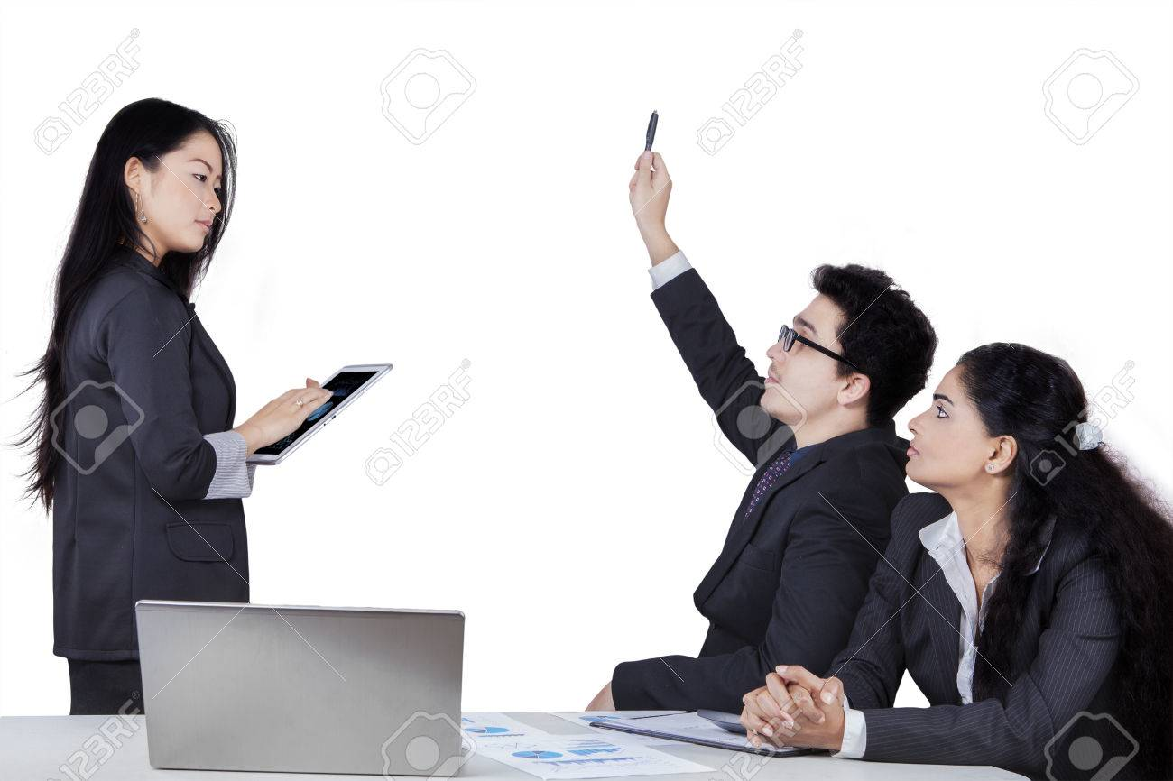 portrait of caucasian businessman raise hand to ask at the meeting portrait of caucasian businessman raise hand to ask at the meeting leader isolated on white