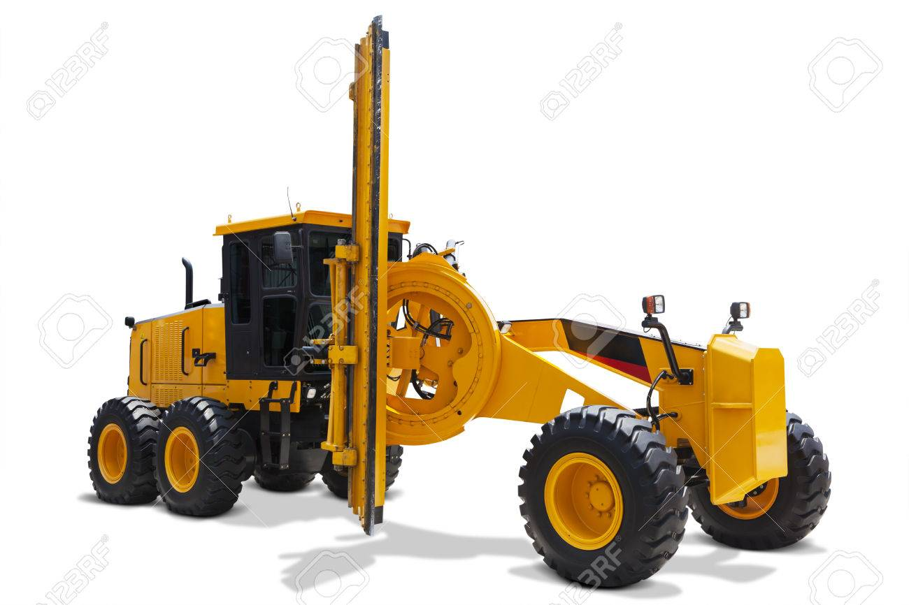 Image of a modern motor grader with yellow color, isolated on