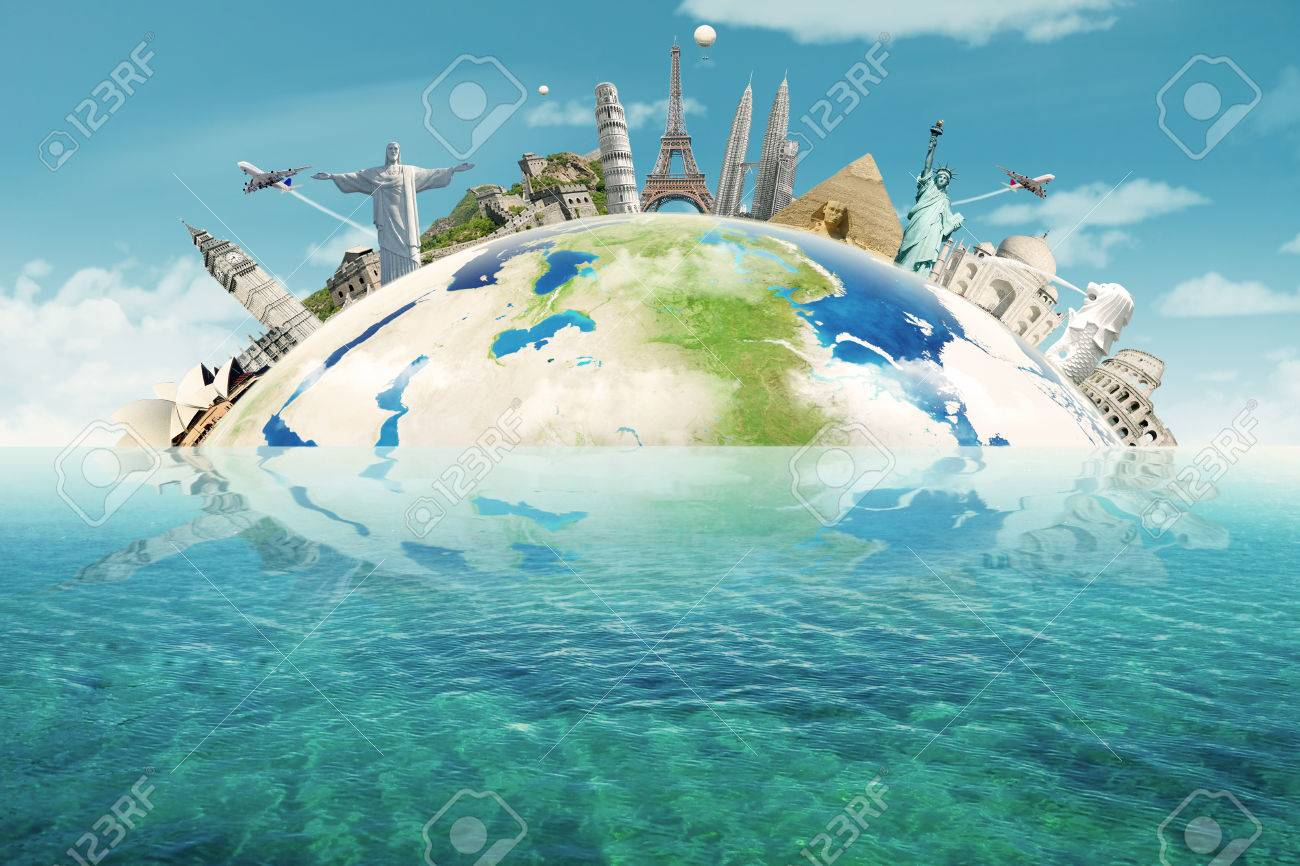 Image of famous monuments of the world put together on the Earth planet. Concept of travelling to around the world - 62172518