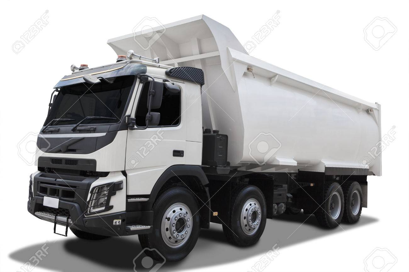 Big Dump Trucks >> Image Of A Big Dump Truck With White Color Isolated On White