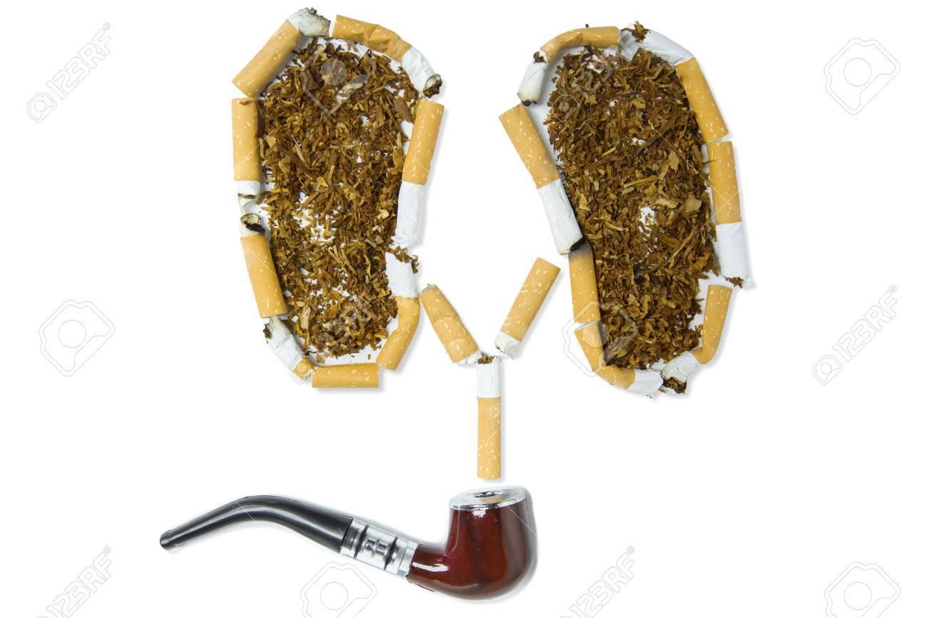 Vista Superior De La Pipa De Tabaco Con Un Símbolo De Pulmones De ...
