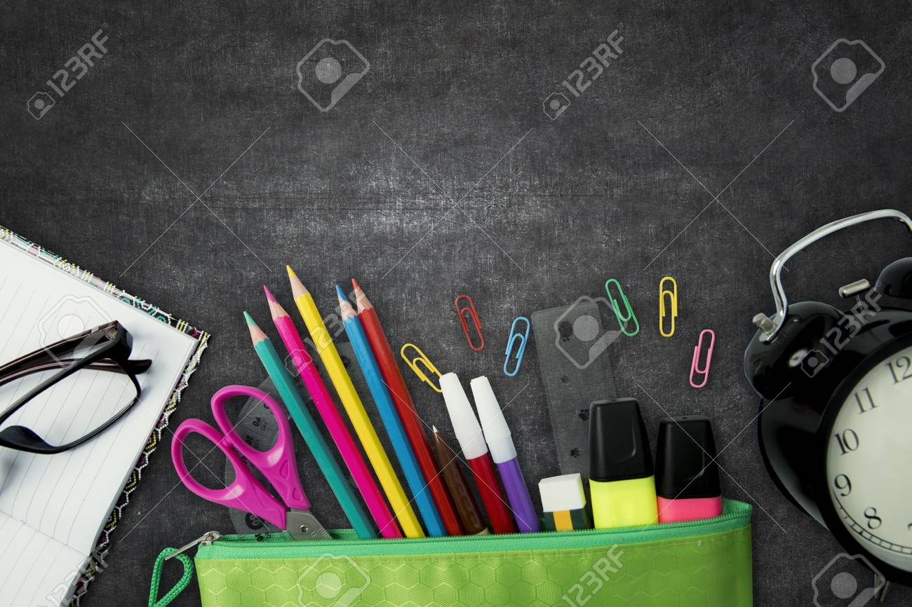 Storage space stationery and school supplies