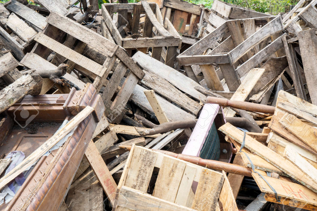 Close up of scrap wood piles in a landfill. Shot in Jakarta, Indonesia - 122085617