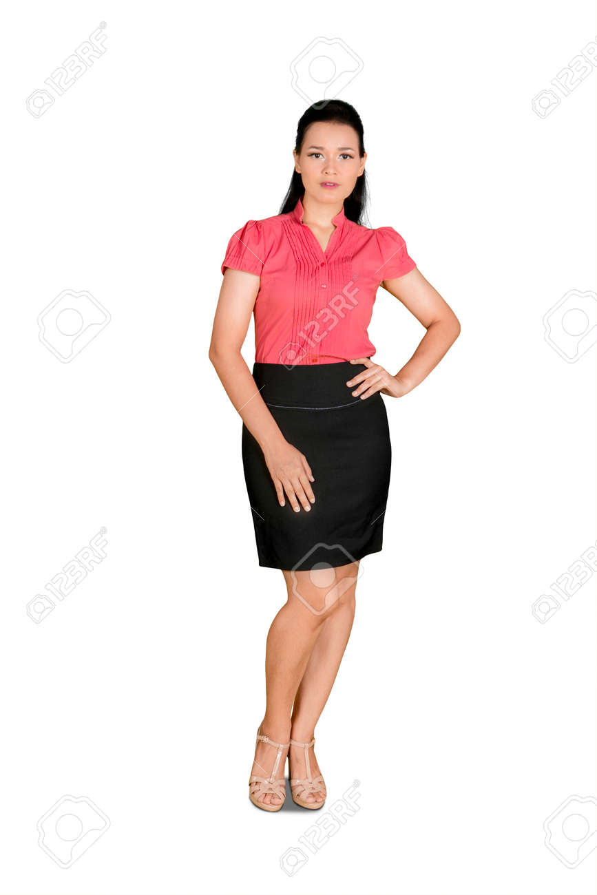 Full length of business woman standing and posing with arms on her waist in the studio. Isolated on white background - 156767302