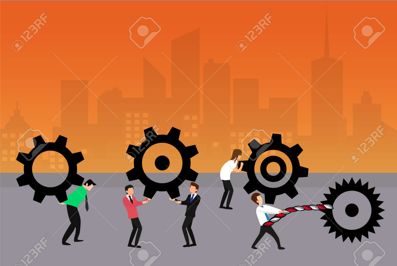 Engineering vector concept: businessmen lifting and carrying their big cogwheels on the streets - 156642935