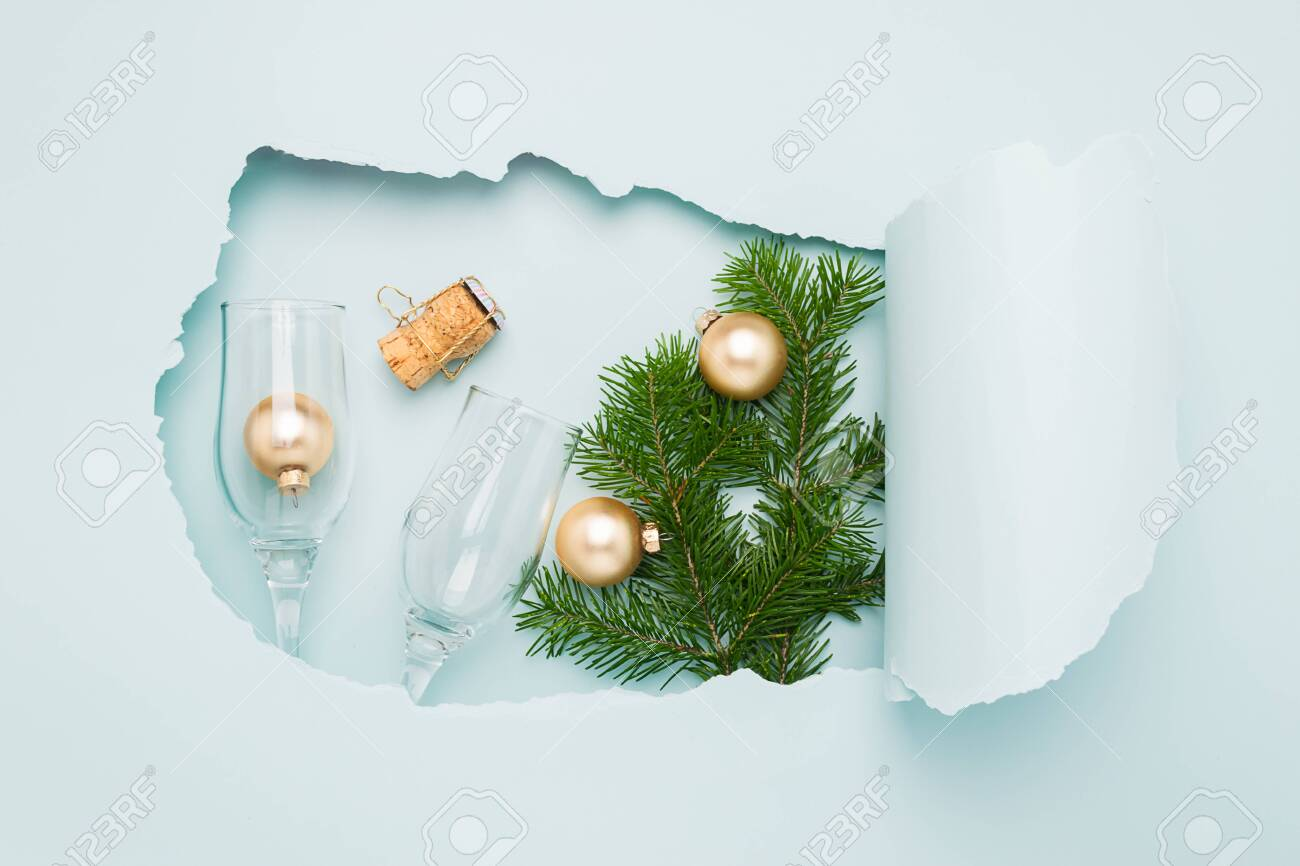 New Year Layout And A Big Hole On Paper Background Mint Color Stock Photo Picture And Royalty Free Image Image 130464891