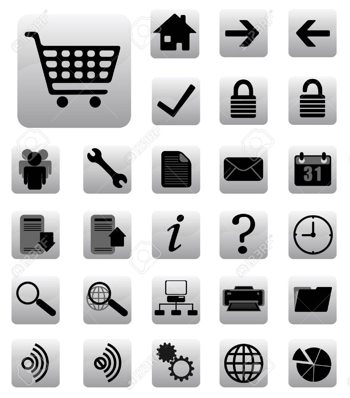 internet  and website icons set black and gray Stock Vector - 7582277