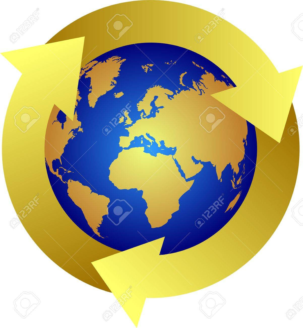 Recycle  earth symbol yellow Stock Vector - 7582227
