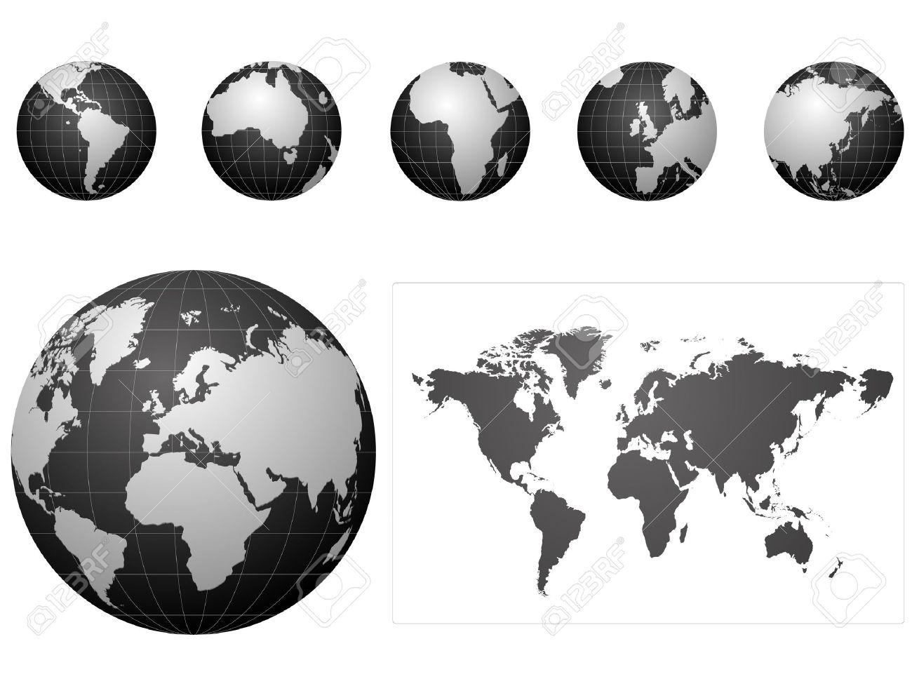 black globe icons set - 7644128