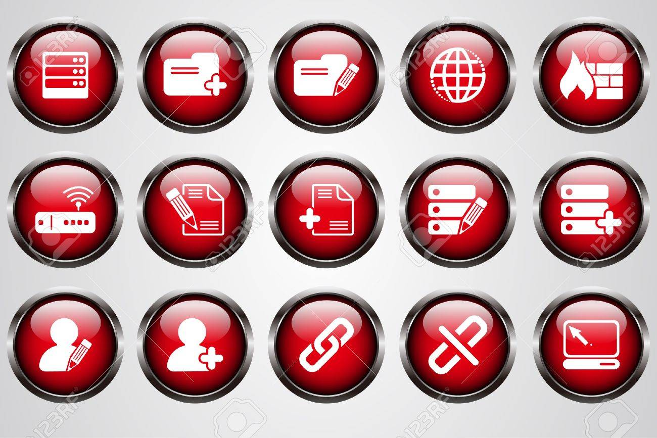 Database and Network icons red  cystal button Stock Vector - 7612323
