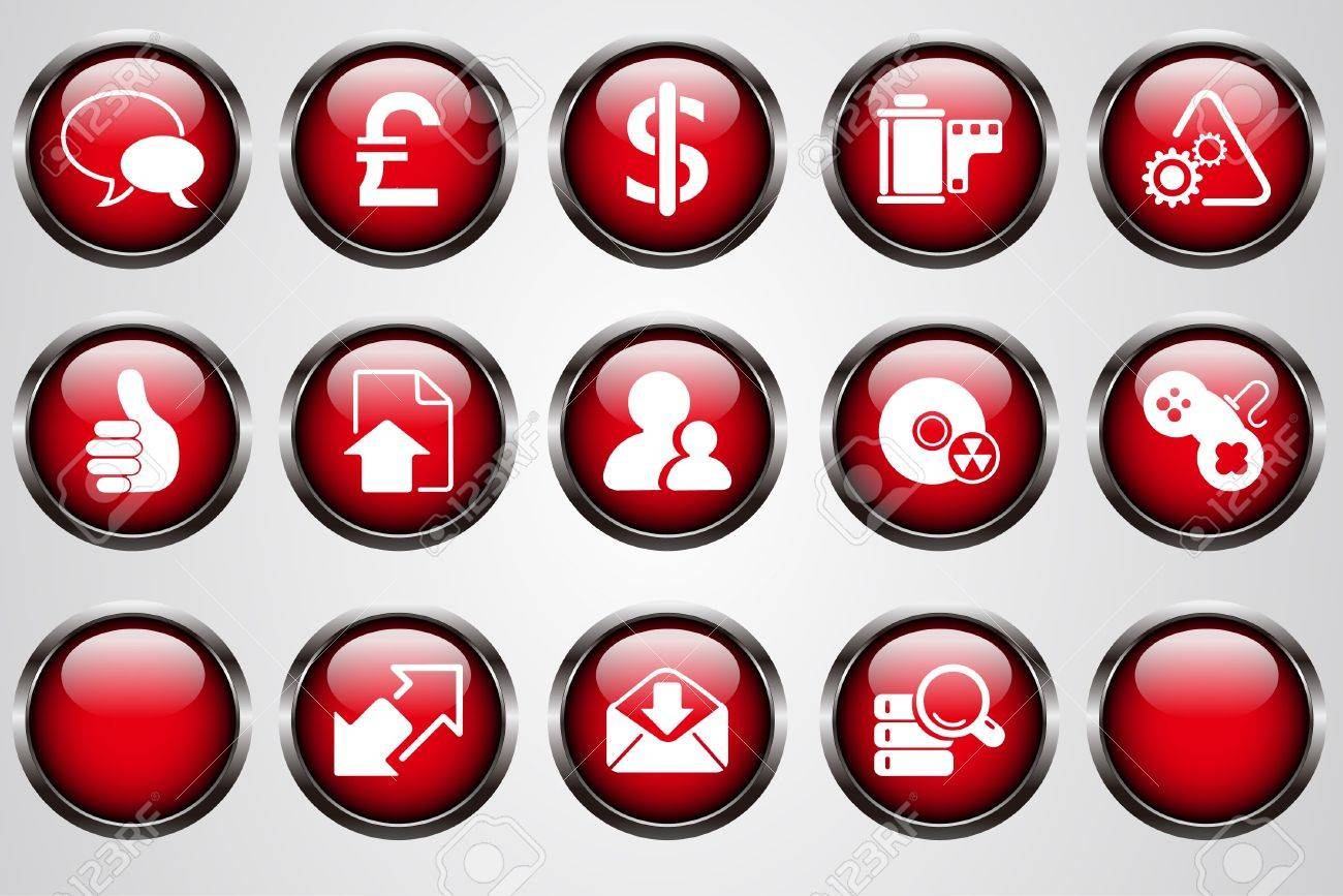 Internet icons red cystal button Stock Vector - 7612315