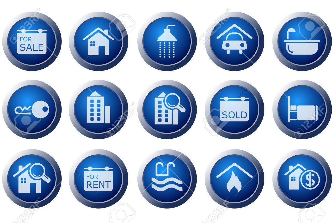 Real Estate icons Stock Vector - 7643911