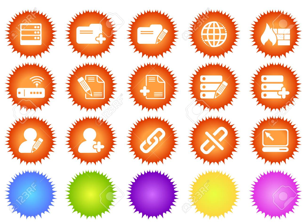 Database and Network icons sun series Stock Vector - 7643708