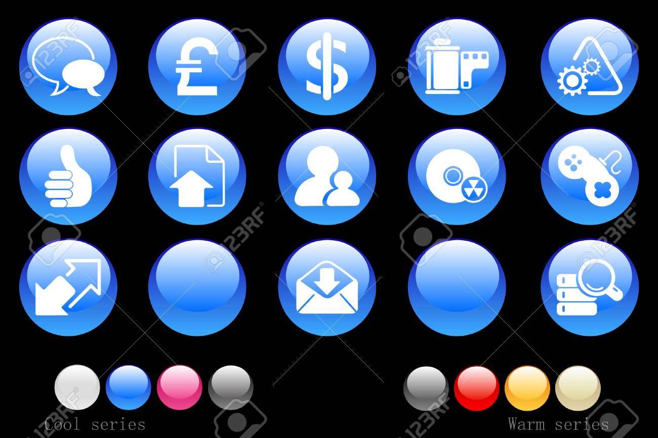 Internet icons cystal button Stock Vector - 7746910