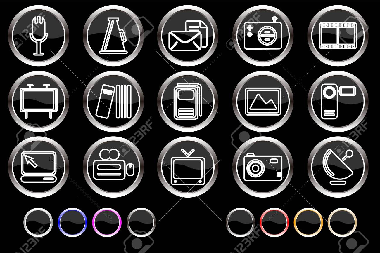 Media and Publishing icons Stock Vector - 7886806