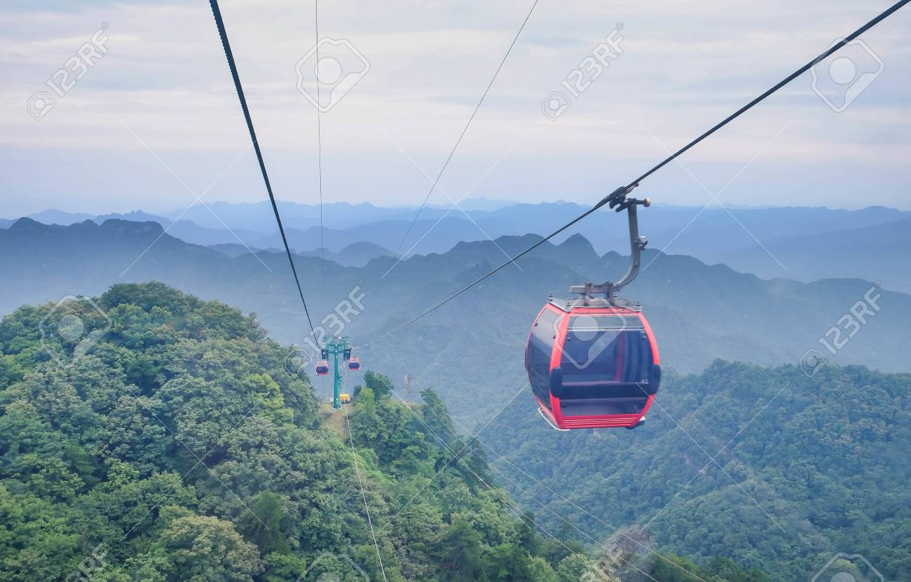 The View Of Wudang Mountain View From The Cable Car Taken To