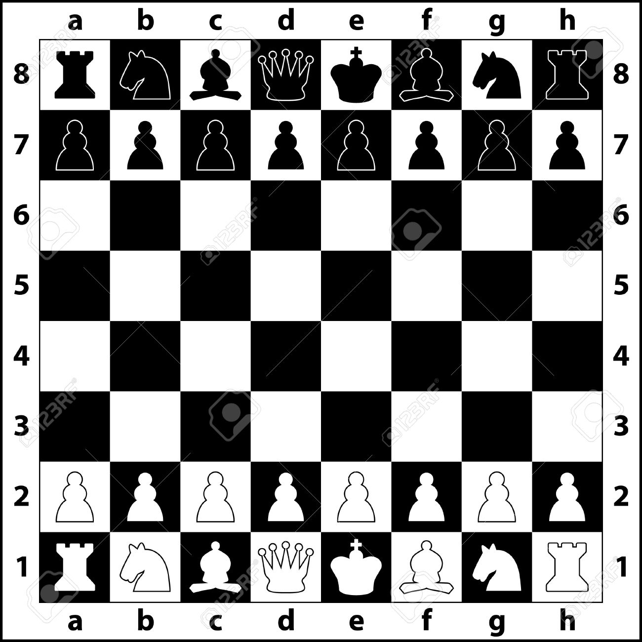 the starting positions of the chess pieces on the chess board Stock Vector - 9275420